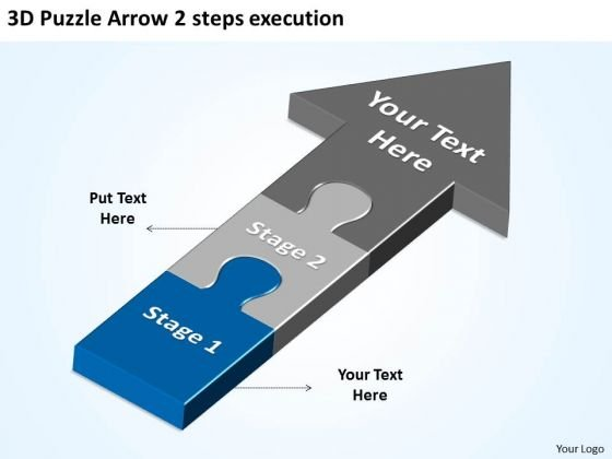 3d Puzzle Arrow 2 Steps Execution Download Business Plan PowerPoint Templates