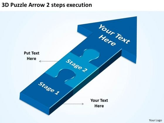 3d Puzzle Arrow 2 Steps Execution Process Flow Diagram PowerPoint Templates