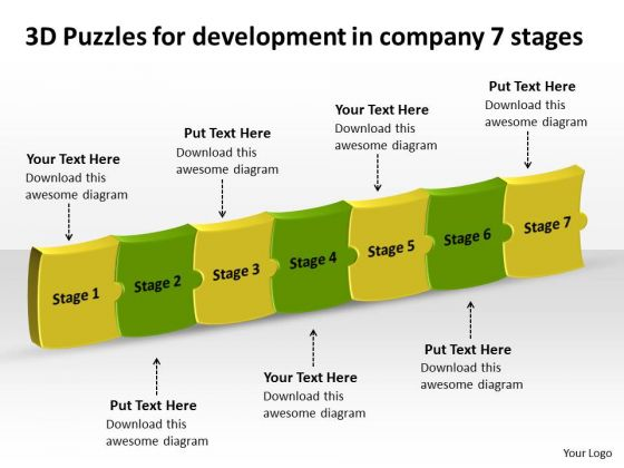 3d Puzzles For Development In Company 7 Stages Manufacturing Flow Diagram PowerPoint Slides