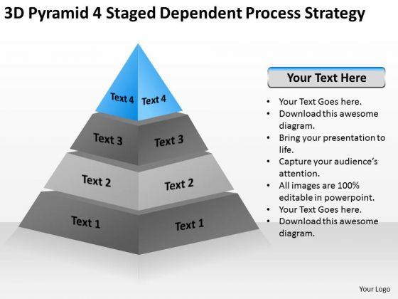 3d Pyramid 4 Staged Dependent Process Strategy Ppt Strategic Business Plan PowerPoint Slides