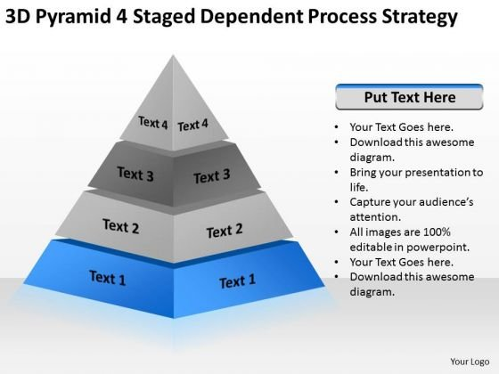 3d Pyramid 4 Staged Dependent Process Strategy Ppt The Business Plan PowerPoint Slides