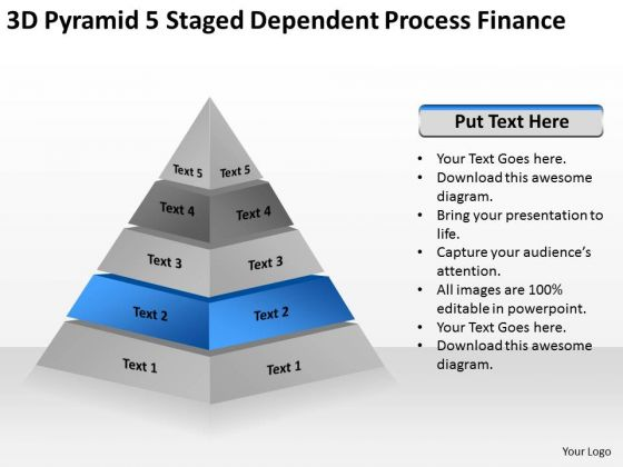 3d Pyramid 5 Staged Dependent Process Finance Ppt Business Plan Wizard PowerPoint Templates