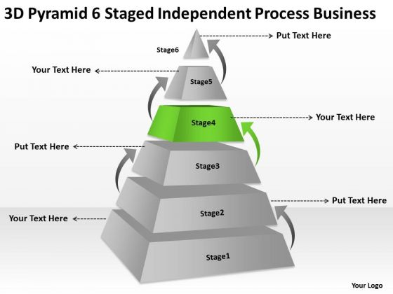 3d Pyramid 6 Staged Independent Process Business Ppt Operational Plan PowerPoint Templates
