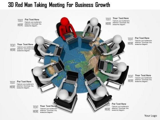3d Red Man Taking Meeting For Business Growth