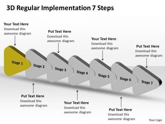 3d Regular Implementation 7 Steps Flow Chart PowerPoint Templates