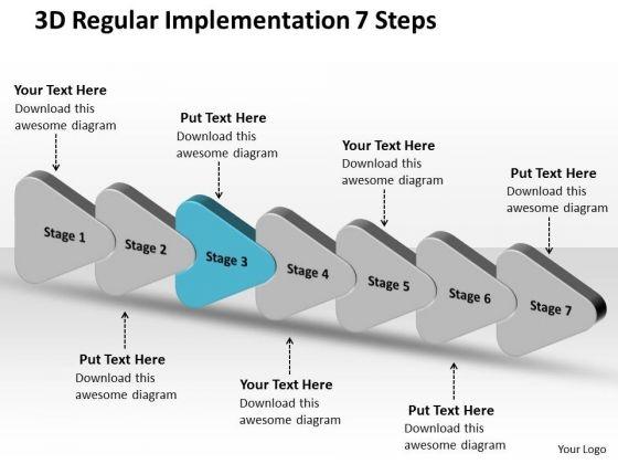 3d Regular Implementation 7 Steps Flow Chart Template PowerPoint Slides