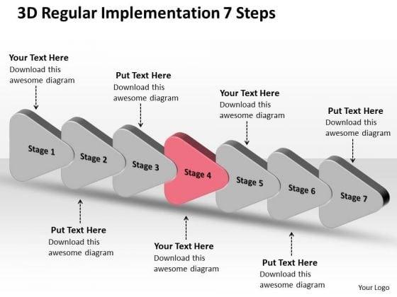 3d Regular Implementation 7 Steps PowerPoint Transformer Templates