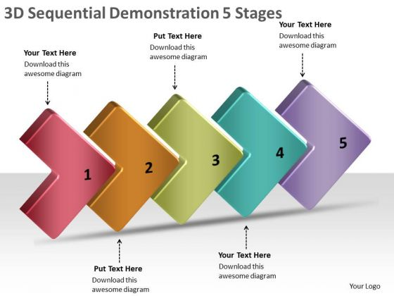 3d Sequential Demonstration 5 Stages Flow Chart In Business PowerPoint Slides