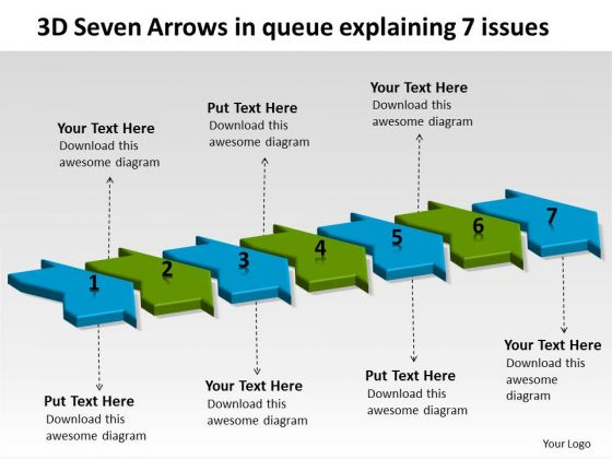 3d Seven Arrows In Queue Explaining 7 Issues Vision Office Stencils PowerPoint Templates