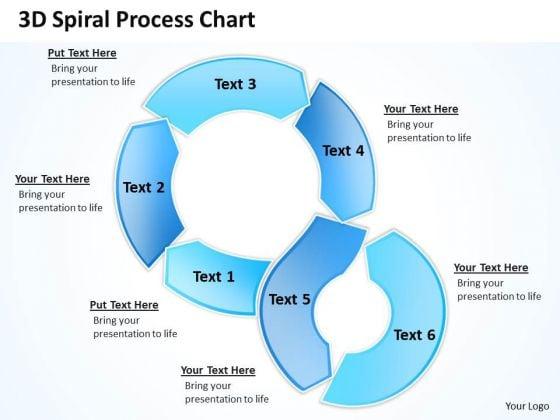 3d Spiral Process Chart Circular Flow Layout Network PowerPoint Templates