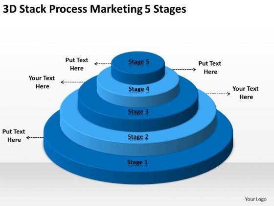 3d Stack Process Marketing 5 Stages Ppt Creating Business Plan PowerPoint Slides