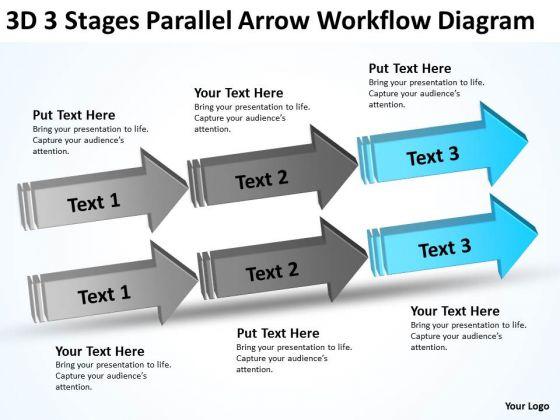 3d Stages Parallel Arrow Workflow Diagram Ppt Business Case Template PowerPoint Templates