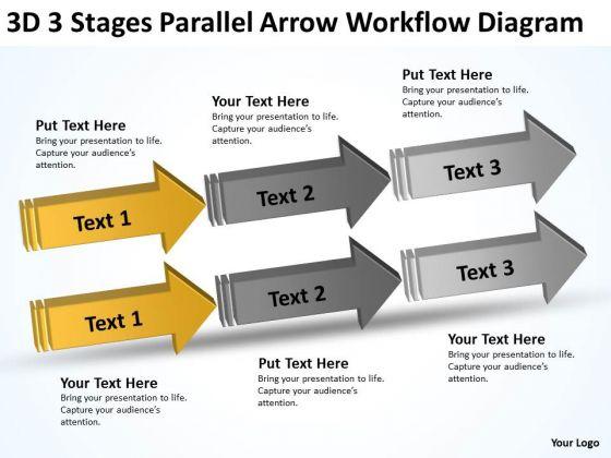 3d Stages Parallel Arrow Workflow Diagram Simple Business Plans PowerPoint Templates
