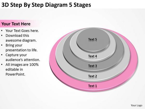 3d Step By Diagram 5 Stages Business Plan Template Word PowerPoint Templates