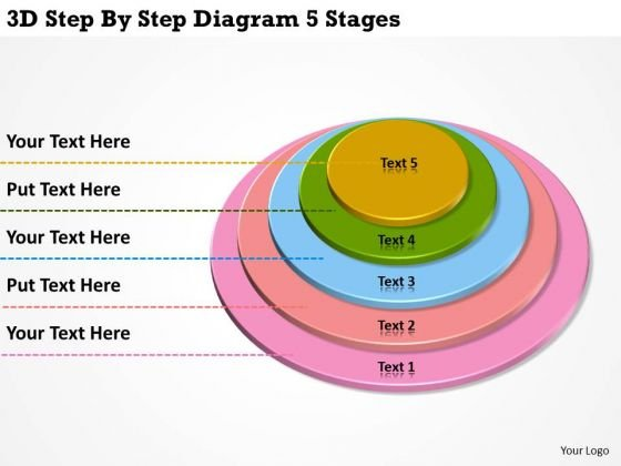3d Step By Diagram 5 Stages Construction Business Plan Template PowerPoint Slides