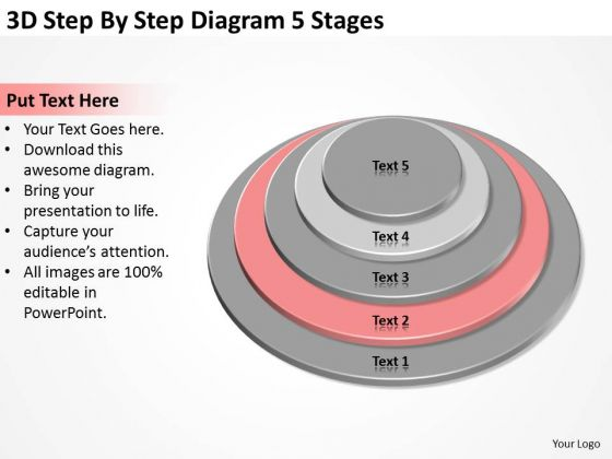 3d Step By Diagram 5 Stages Pizza Business Plan PowerPoint Slides
