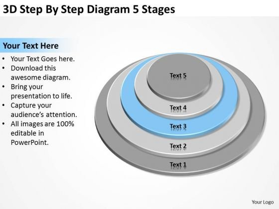 3d Step By Diagram 5 Stages Ppt Best Business Plan Templates PowerPoint Slides