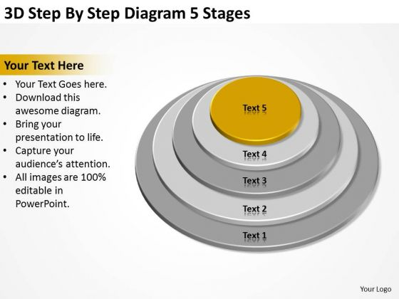 3d Step By Diagram 5 Stages Ppt Business Marketing Plan PowerPoint Slides