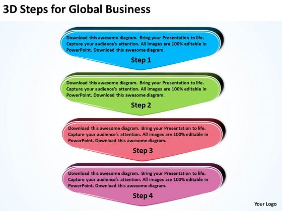 3d Steps For Global World Business PowerPoint Templates Process Flow Diagram
