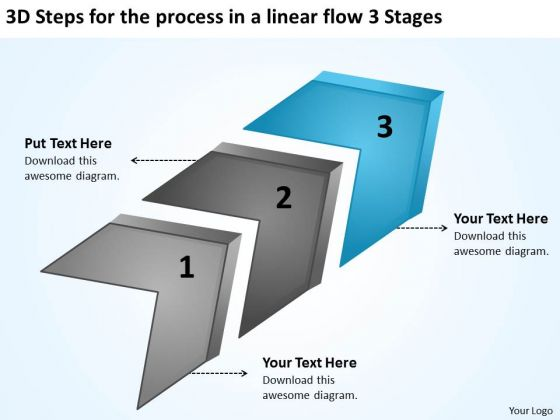 3d Steps For The Process In A Linear Flow Stages Ppt Business Plan Creation PowerPoint Slides