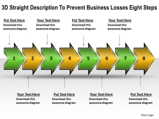 3d Straight Description To Prevent Business Losses Eight Steps Flow Charts PowerPoint Slides
