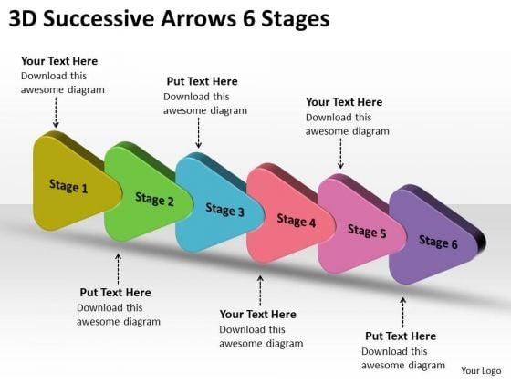 3d successive arrows 6 stages flowchart powerpoint free slides, Powerpoint templates