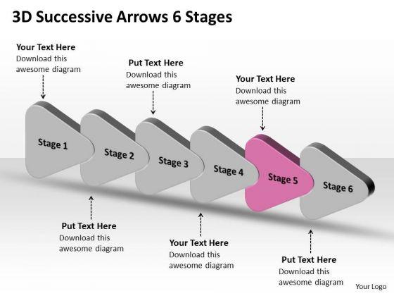 3d Successive Arrows 6 Stages Ppt Visio Templates PowerPoint Slides ...