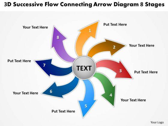3d Successive Flow Connecting Arrow Diagram 8 Stages Circular Process PowerPoint Slides