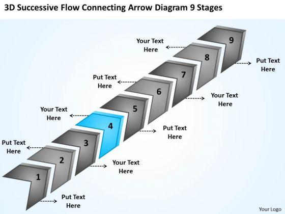 3d Successive Flow Connecting Arrow Diagram 9 Stages Busniess Plan PowerPoint Slides