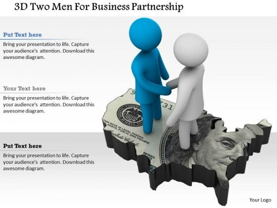 3d Two Men For Business Partnership
