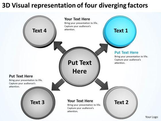 3d Visual Representation Of Four Diverging Factors Circular Flow Process PowerPoint Slides