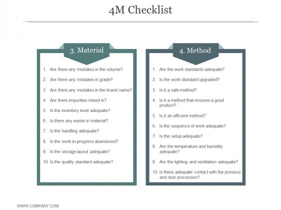 4M Checklist Ppt PowerPoint Presentation Picture
