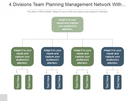 4 Divisions Team Planning Management Network With Functions Ppt PowerPoint Presentation Picture