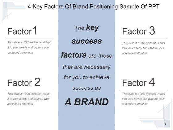 4 Key Factors Of Brand Positioning Ppt PowerPoint Presentation Example File