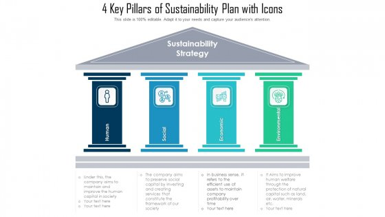 4 Key Pillars Of Sustainability Plan With Icons Ppt Styles Infographic Template PDF