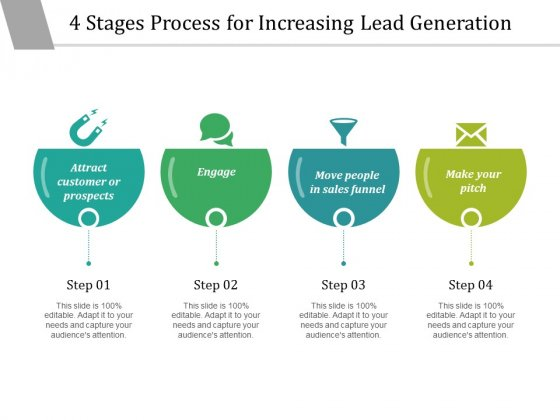 4 Stages Process For Increasing Lead Generation Ppt PowerPoint Presentation Inspiration Microsoft