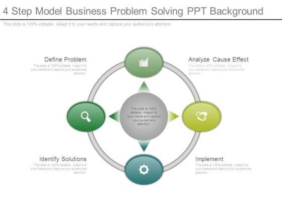 4 Step Model Business Problem Solving Ppt Background