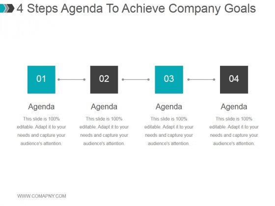 4 Steps Agenda To Achieve Company Goals Ppt PowerPoint Presentation Inspiration