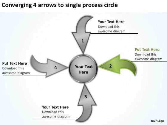 4 Arrows To Single Process Circle Relative Circular Flow PowerPoint Templates