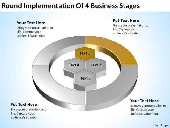 4 Business PowerPoint Theme Stages Online Plan Creator Slides