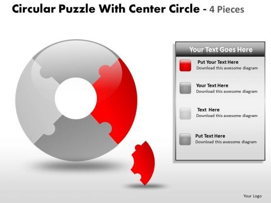 4 Circular Puzzle With Center Circle Pieces PowerPoint Slides And Ppt Diagram Templates