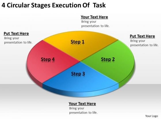 4 Circular Stages Execution Of Task Small Business Plan PowerPoint Templates