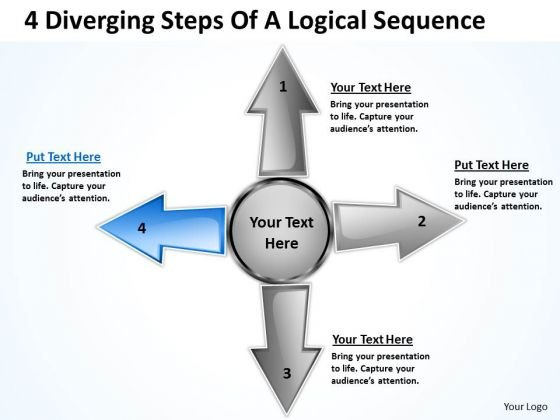 4 Diverging Steps Of A Logical Sequence Arrows Cycle Chart PowerPoint Templates