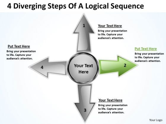 4 Diverging Steps Of A Logical Sequence Circular Arrow Diagram PowerPoint Template