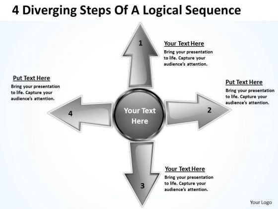 4 Diverging Steps Of A Logical Sequence Circular Arrow Diagram PowerPoint Templates
