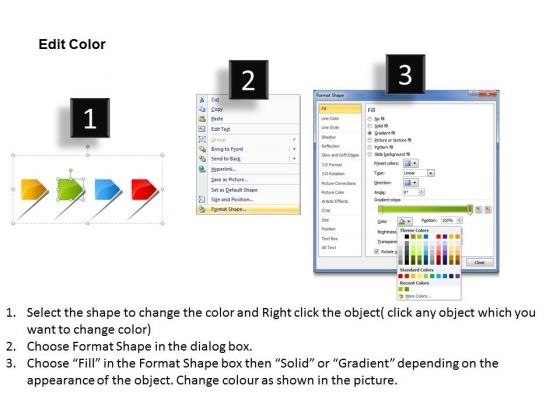 4 linear arrows free flowchart template powerpoint templates, Modern powerpoint