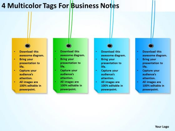 4 Multicolor Tags For Business Notes Ppt Plan Sample PowerPoint Slides