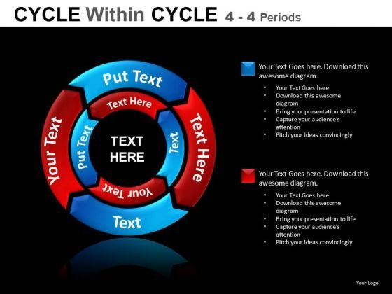 4 Stage 2 Layers Cycle Chart Diagrams PowerPoint Templates