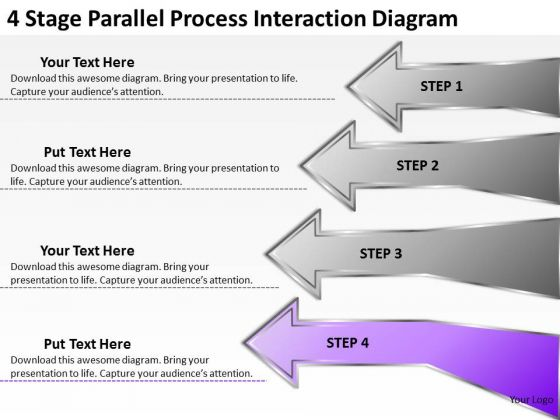 4 Stage Parallel Process Interaction Diagram Ppt Creating Business Plan PowerPoint Templates