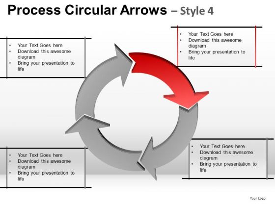 4 Stage Process Flow Relationship Diagram PowerPoint Slides